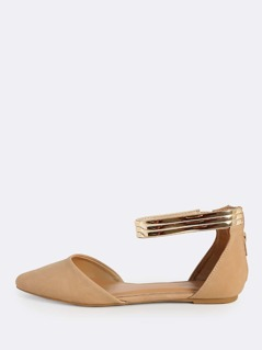 Point Toe Zip Up Ankle Strap Flats NATURAL