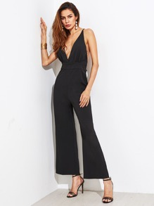 Plunging Crisscross Backless Wide Leg Jumpsuit