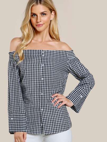 Gingham Off Shoulder Button Up BLACK WHITE