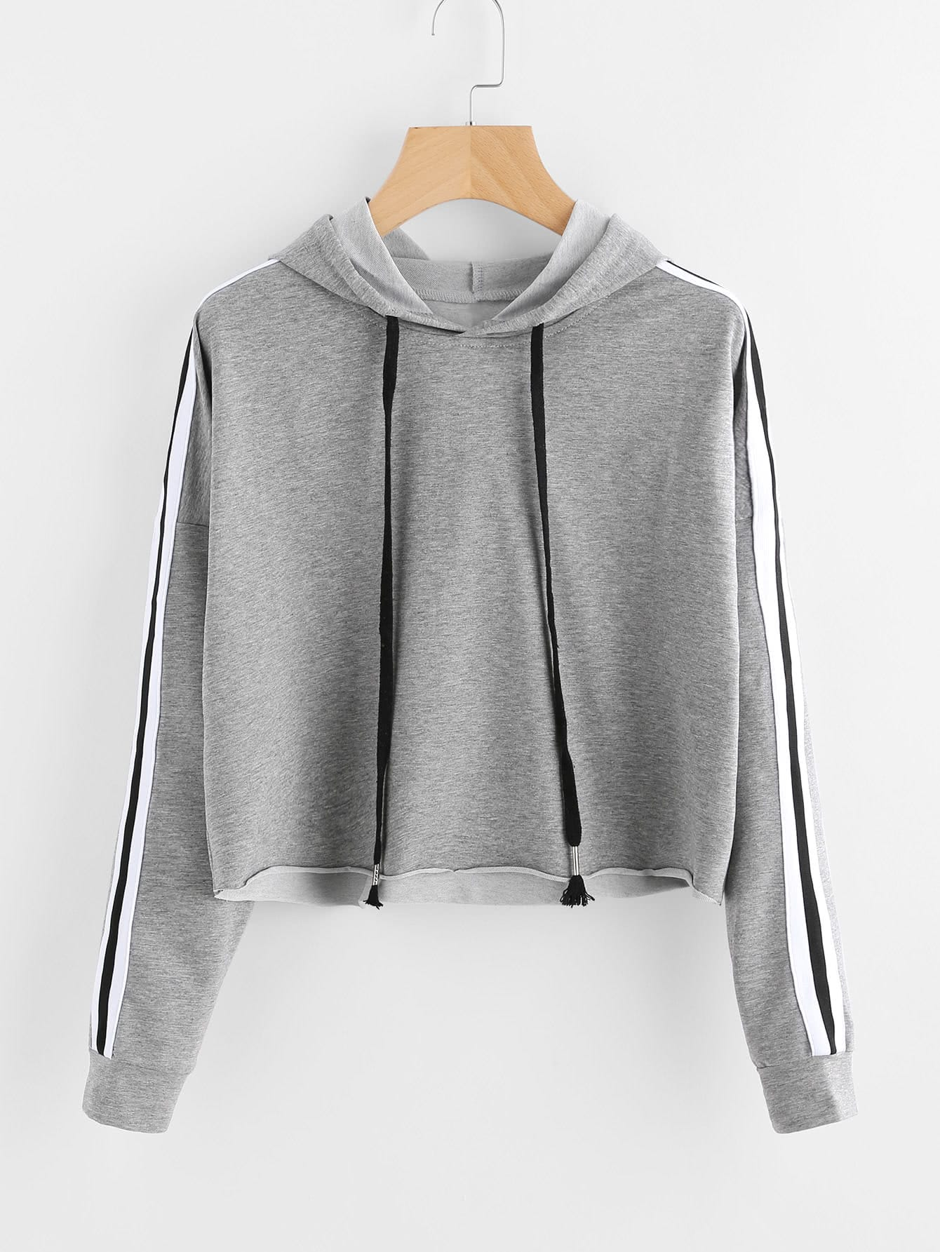 Stripe Tape Drop Shoulder Raw Hem Marled Hoodie drop shoulder frill hem batwing sweatshirt
