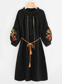 Flower Embroidered Lantern Sleeve Tassel Tie Dress