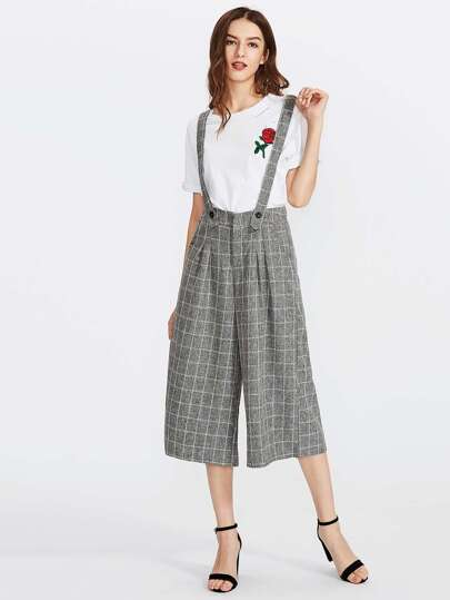 Pane Plaid Wide Leg Jumpsuit