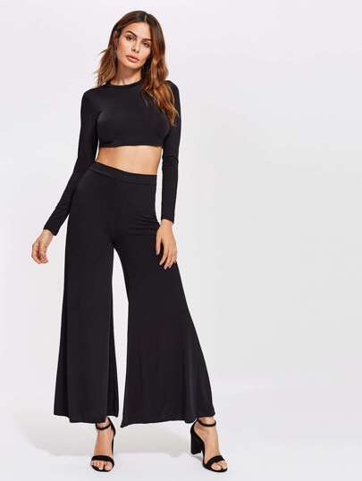 Mock Neck Crop Top With Flare Pants