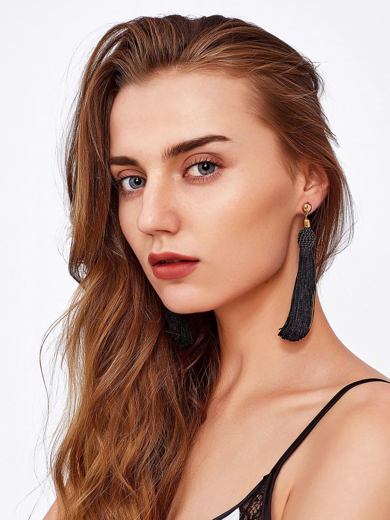 Tassel Statement Drop Earrings silver plated strip tassel drop earrings