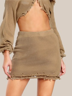 Raw Hem Knitted Skirt MOCHA