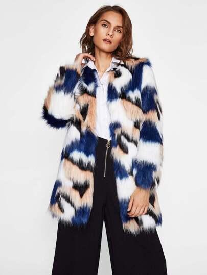 Colorful Faux Fur Open Front Coat