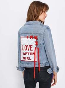 Embroidered Patch Back Grommet Lace Up Denim Jacket