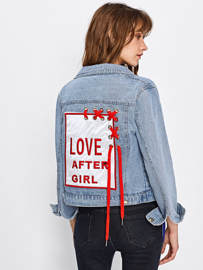 Embroidered Patch Back Grommet Lace Up Denim Jacket