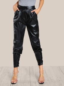 Faux Leather Cigarette Buckle Pants