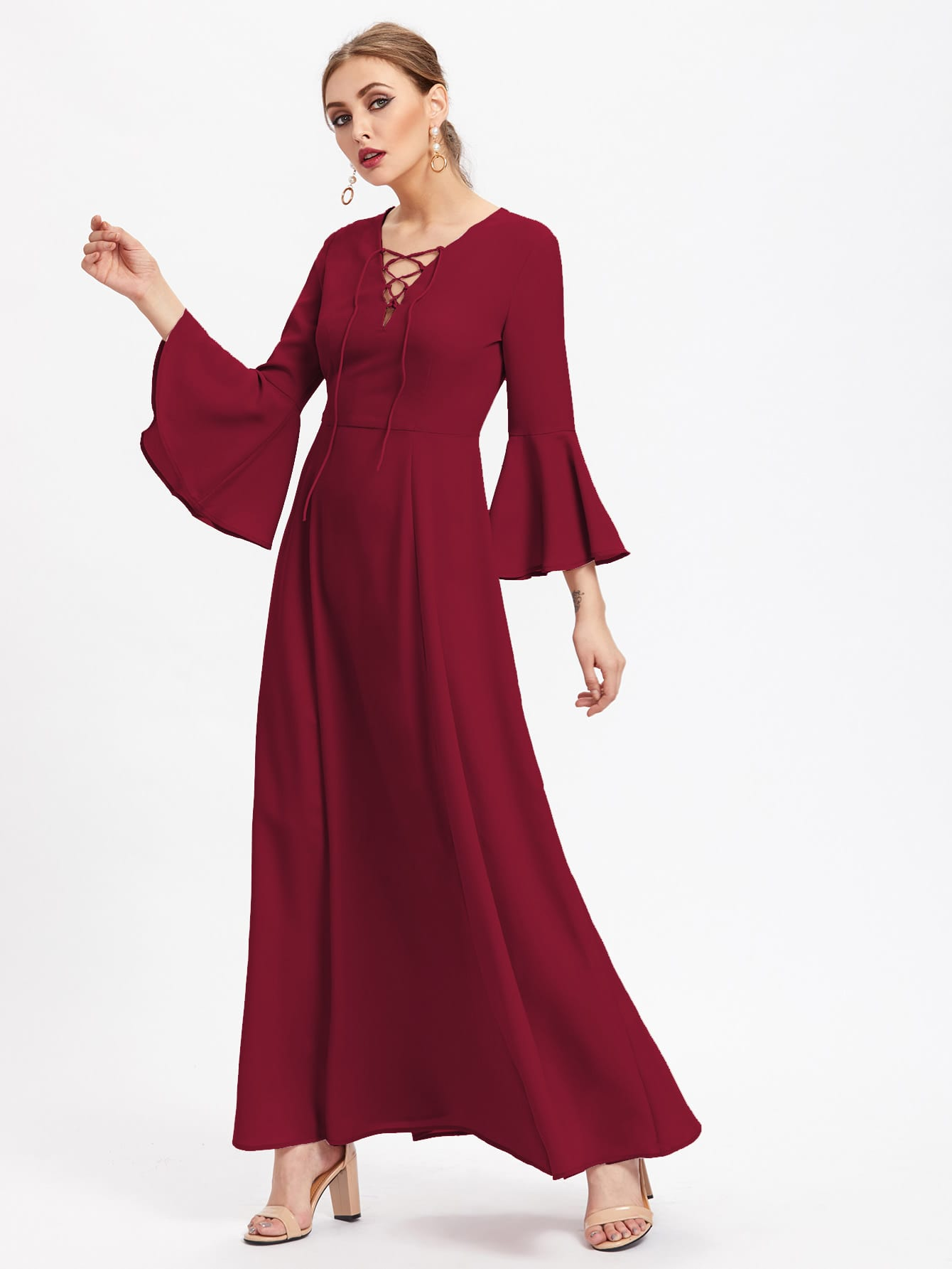 Lace Up Front Fluted Sleeve Hijab Evening Dress