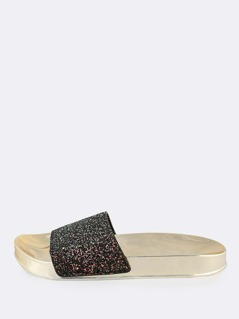 Metallic Sole Glitter Band Slides BLACK