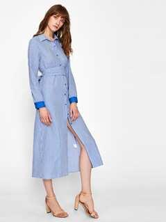 Satin Cuff Self Tie Waist Gingham Shirt Dress