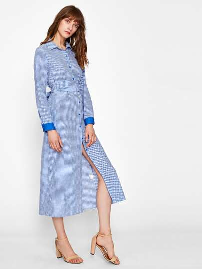 Satin Cuff Self Tie Waist Gingham Shirt Dress