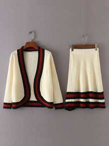 Striped Trim Open Front Cardigan And Skirt Set