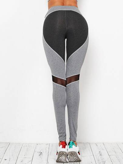 Active Contrast Paneled Marled Leggings