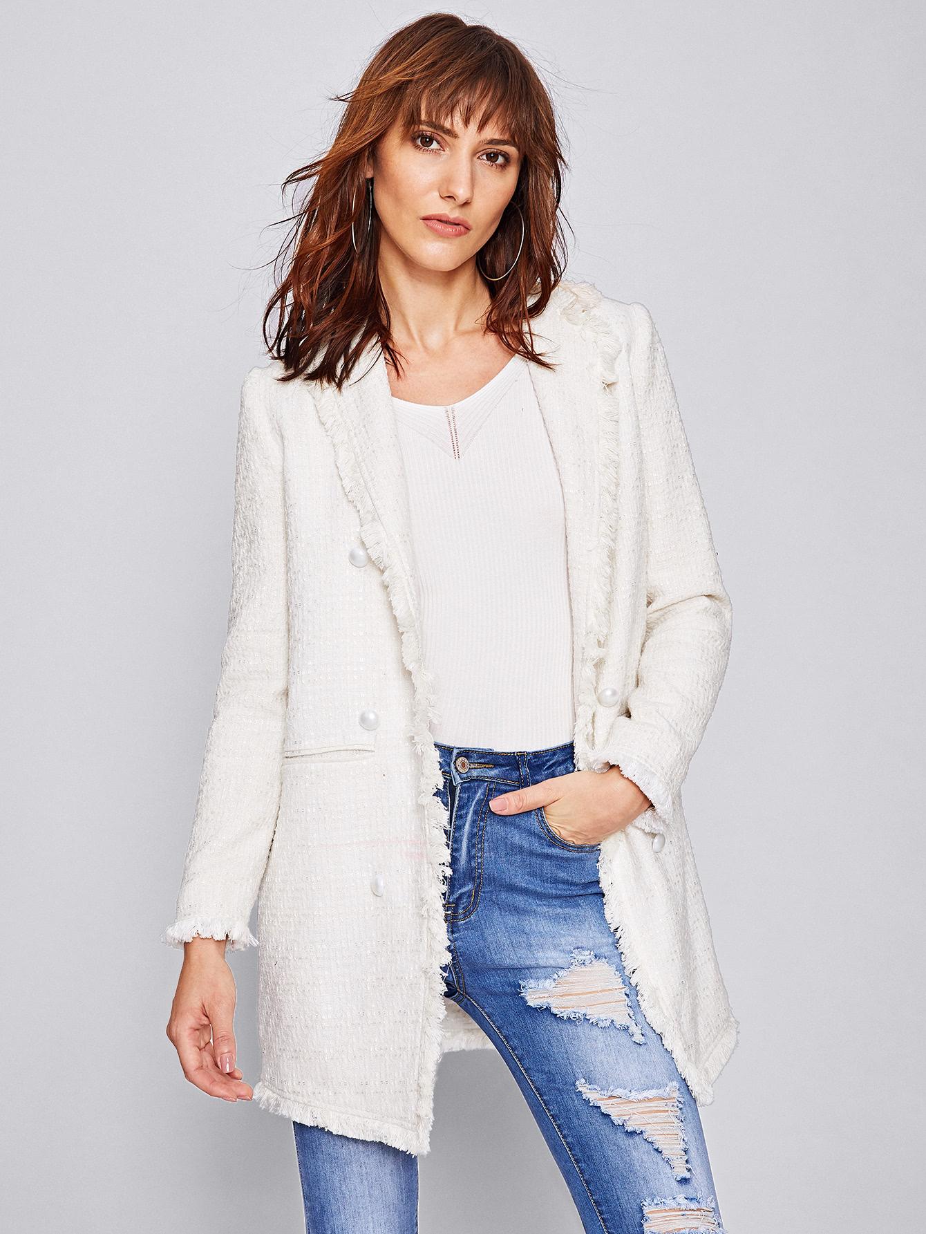 Frayed Trim Longline Tweed Blazer frayed trim houndstooth tweed dress