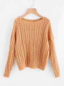 Faux Pearl Detail Drop Shoulder Sweater