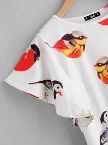 Allover Birds Print Flutter Sleeve Dress pictures