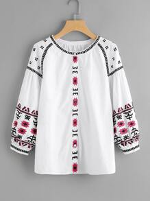 Button Up Embroidered Ukrainian Blouse