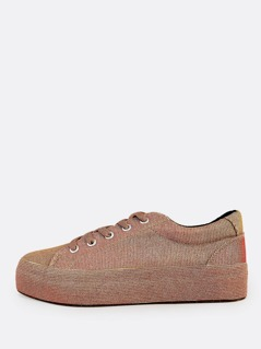 Irridescent Glitter Lace Up Sneakers ROSE GOLD
