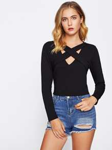 V-neckline Criss Cross Crop Tshirt