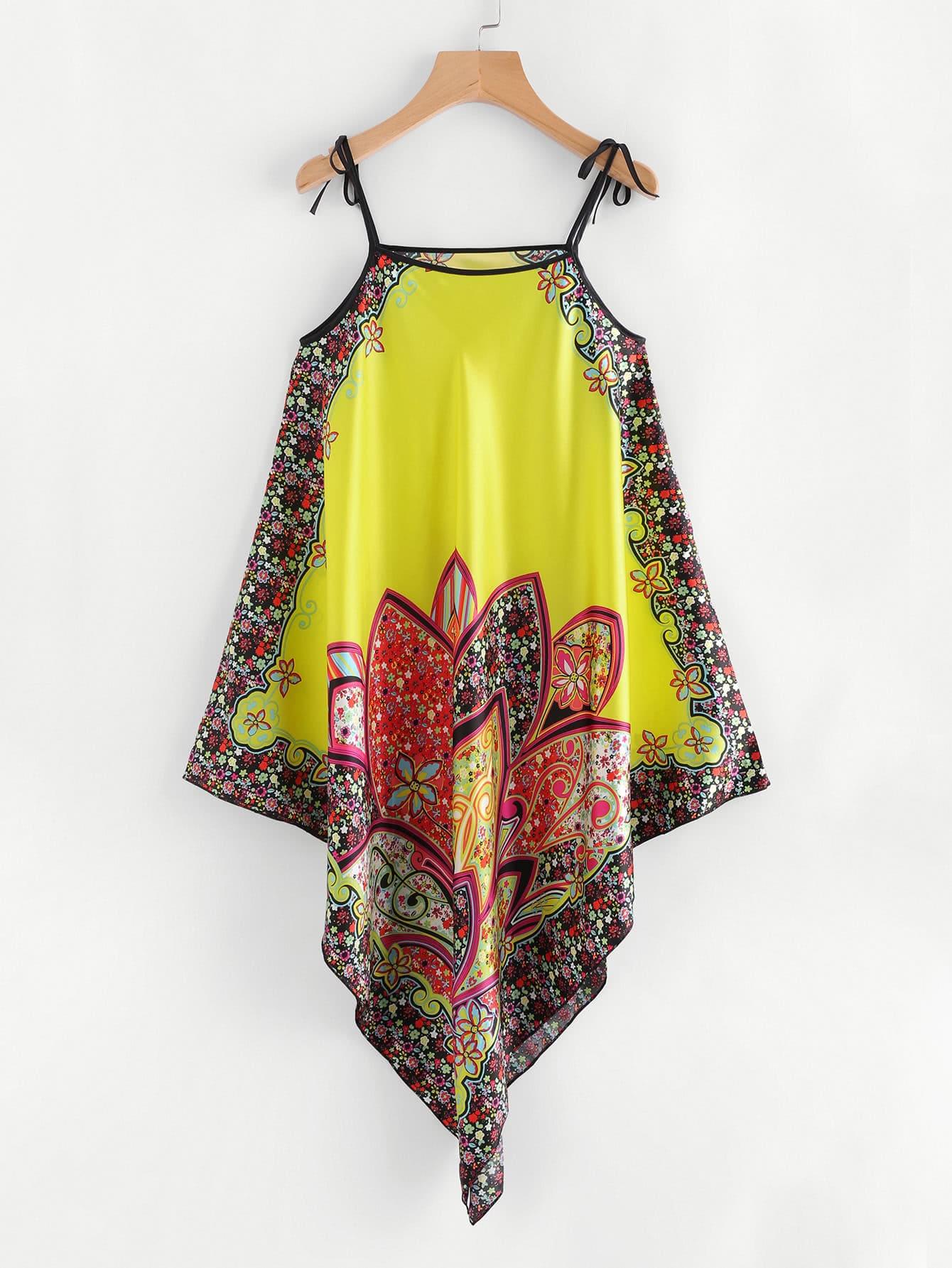 Calico Print Asymmetrical Satin Cami Dress