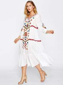 V-neckline Flower Embroidered Tiered Peasant Dress