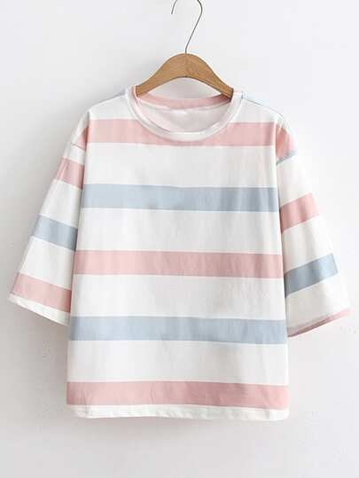 Block Striped Elbow Sleeve Tee