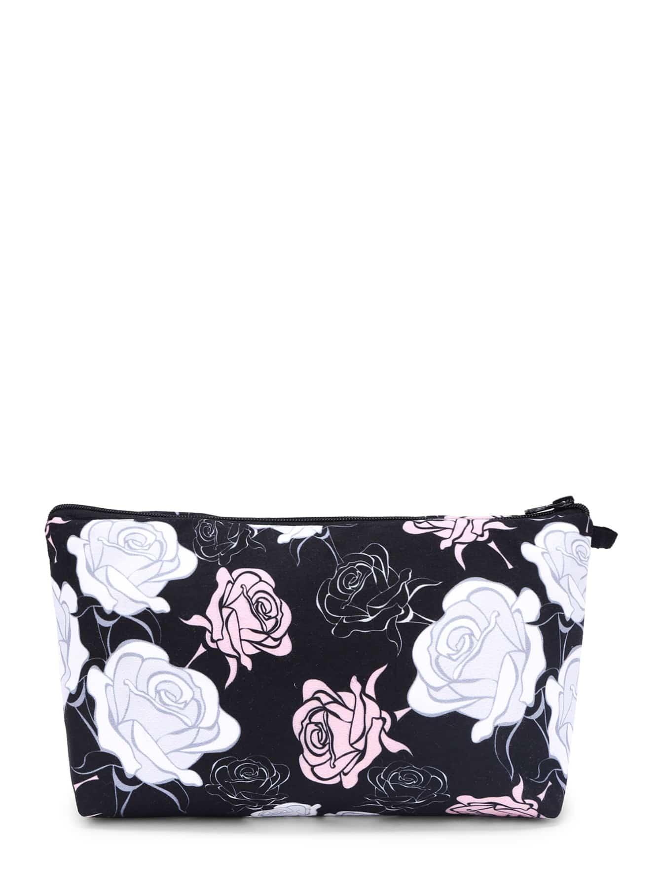Rose Print Makeup Bag