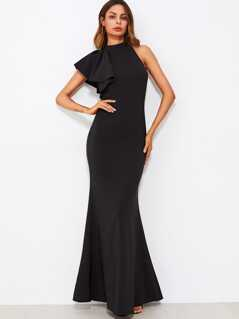 One Sided Flounce Shoulder Fishtail Dress