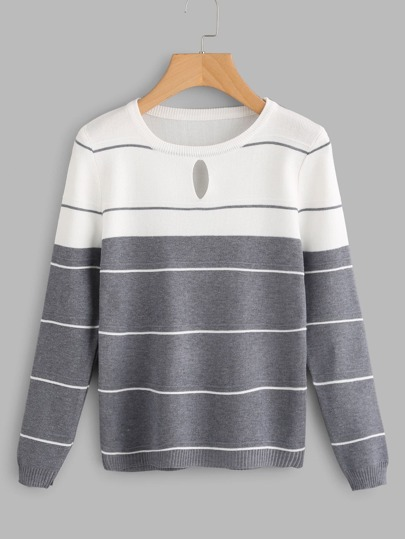 Color Block Striped Keyhole Front Knit Sweater