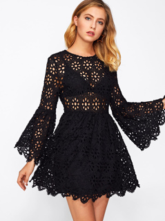 Trumpet Sleeve Hollow Out Guipure Lace Dress