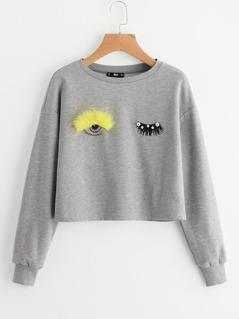 Faux Fur And Beading Wink Eye Drop Shoulder Sweatshirt