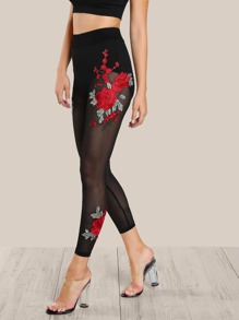 Embroidered Flower Applique Leggings