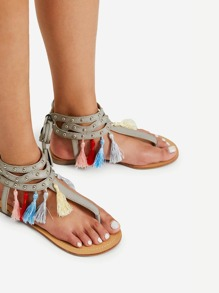 Mini Tassel Decorated Toe Post Flat Sandals