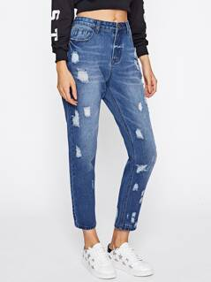 Bleach Ripped Cropped Jeans