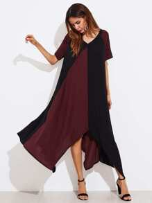 Two Tone Double V Hanky Hem Dress