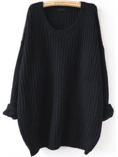 Black Drop Shoulder Textured Sweater