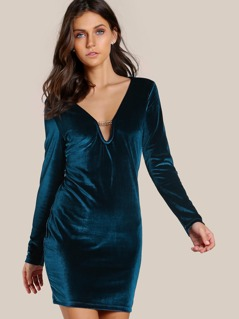 Velvet Long Sleeve Dress BLUE