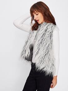 Curved Faux Fur Vest