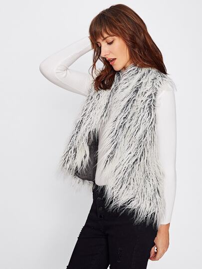 Curved Faux Fur Vest