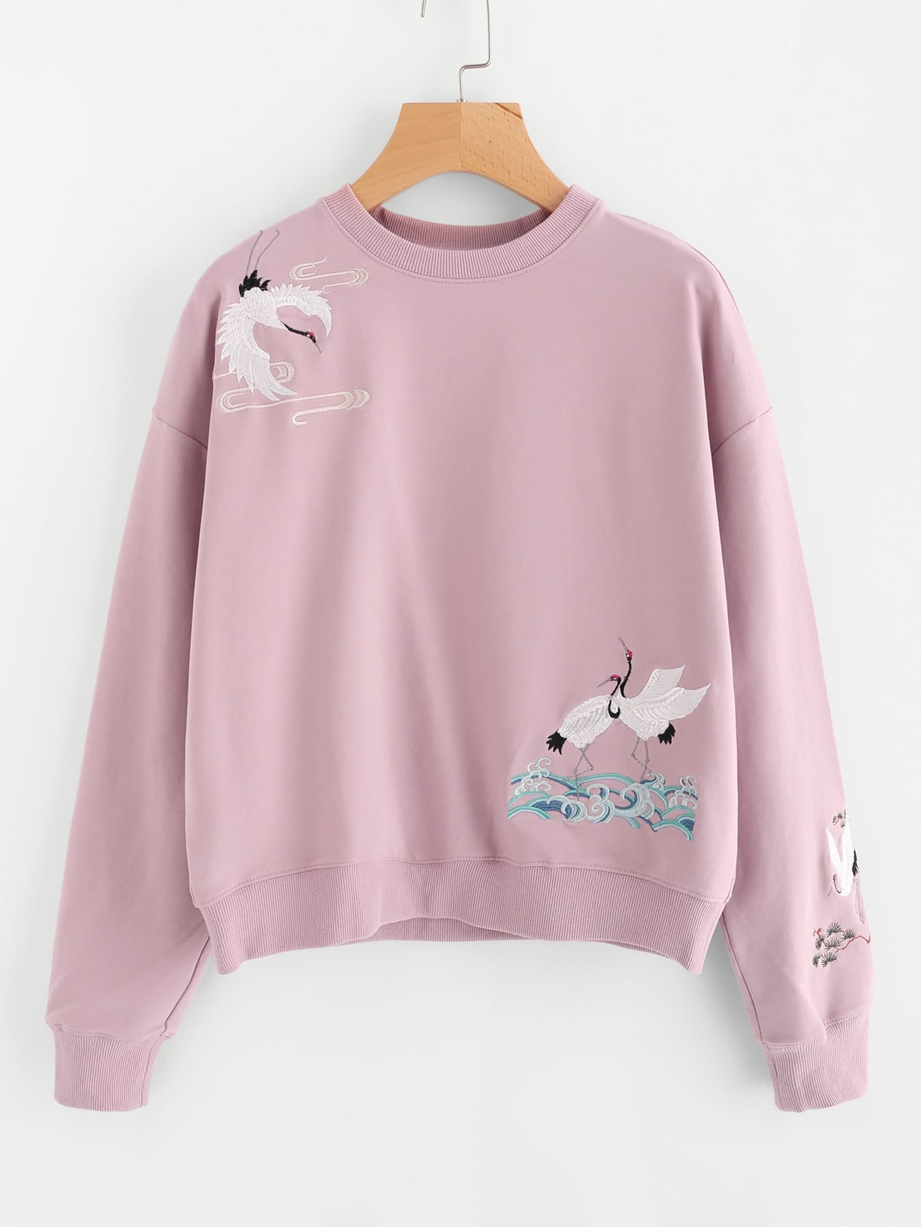 Drop Shoulder Crane Bird Embroidered Sweatshirt