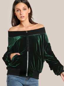 Contrast Rib Trim Off Shoulder Velvet Jacket