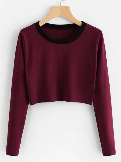 Contrast Neck Crop Tee