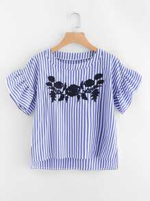 Contrast Striped Flute Sleeve Embroidery Blouse