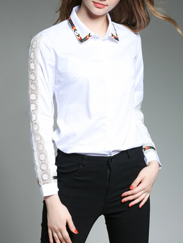 Embroidered Tape Detail Hollow Out Sleeve Shirt frill sleeve tape detail sweatshirt