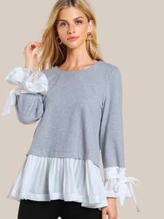 Pleated Hem Long Sleeve Sweatshirt GREY