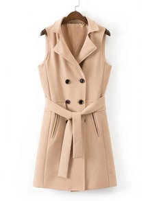 Double Breasted Self Tie Longline Vest Coat