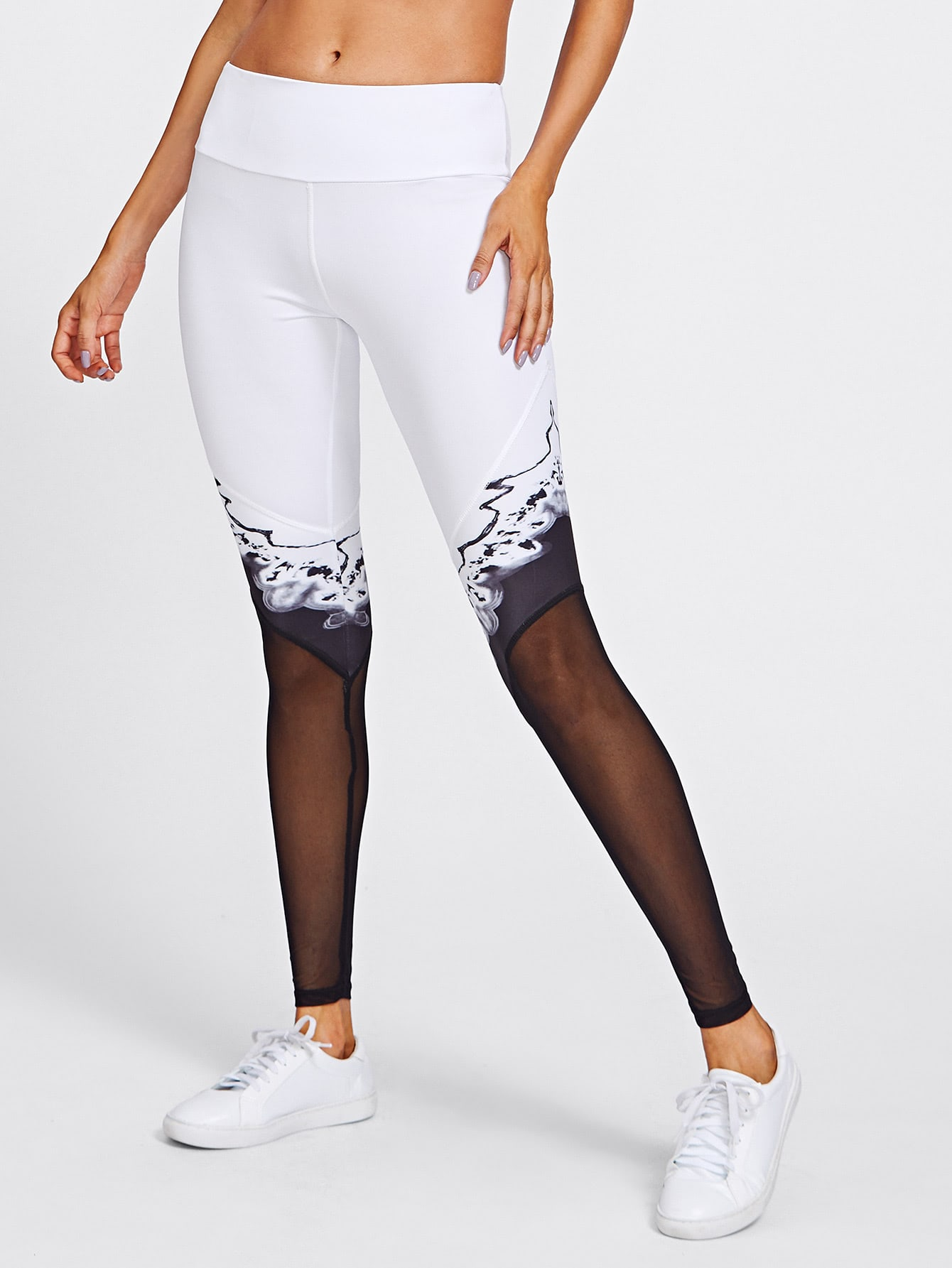 Active Mesh Paneled Leggings leggings170822302