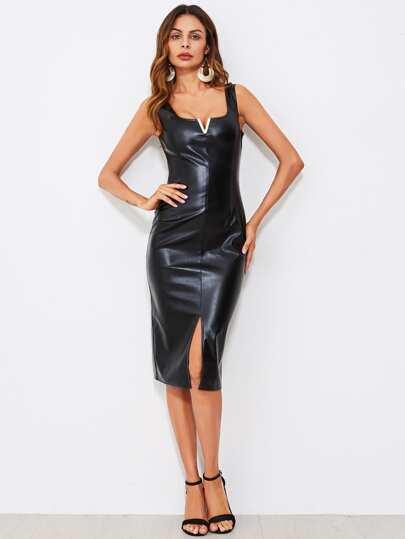 V Notch Slit Front Faux Leather Tank Dress